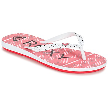 Chaussures Fille Tongs Roxy RG PEBBLES V G SNDL BRE Rouge / Blanc / Noir