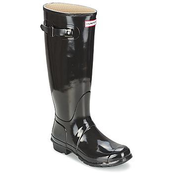 Chaussures Femme Bottes de pluie Hunter ORIGINAL TALL GLOSS Noir