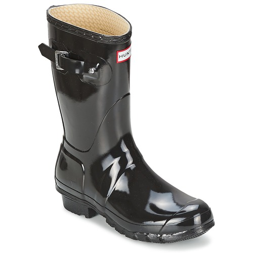 Chaussures Femme Bottes de pluie Hunter WOMEN'S ORIGINAL SHORT GLOSS Noir