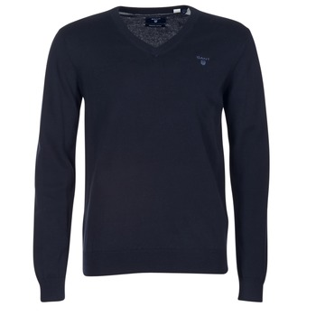 Vêtements Homme Pulls Gant WEIGHT COTTON V NECK Marine