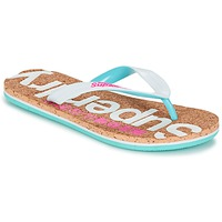 Chaussures Femme Tongs Superdry CORK COLOUR POP FLIP FLOP Blanc / Rose / Bleu