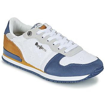 Chaussures Femme Baskets basses Pepe jeans GABLE ANGLAISE SOUL Blanc / Bleu / Gris