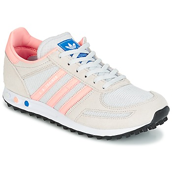 Chaussures Enfant Baskets basses adidas Originals LA TRAINER J Blanc / rose