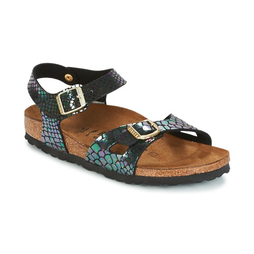 Chaussures Enfant Sandales et Nu pieds Birkenstock RIO Noir brillant Serpent
