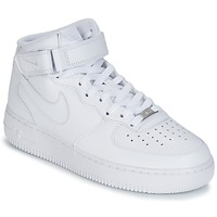 Chaussures Air max tnHomme Baskets montantes Nike AIR FORCE 1 MID 07 LEATHER Blanc