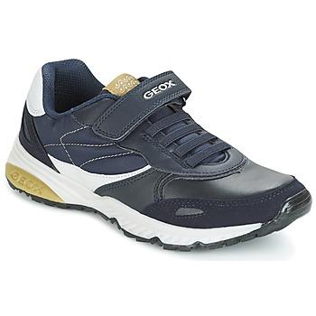 Chaussures Garçon Baskets basses Geox J BERNIE A Marine / Vert