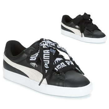 Chaussures Femme Baskets basses Puma Basket Heart DE Noir / Blanc