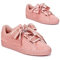 Chaussures Air max tnFemme Baskets basses Puma Basket Heart Satin Rose