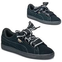 Chaussures Air max tnFemme Baskets basses Puma Basket Heart Satin Noir