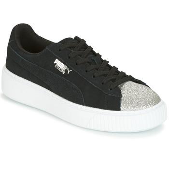 Chaussures Air max tnFemme Baskets basses Puma SUEDE PLATFORM GLAM JR Noir / Argent