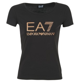 Vêtements Femme T-shirts manches courtes Emporio Armani EA7 TRAIN LOGO SERIES GLITTER Noir / Or Rose