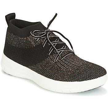 Chaussures Femme Baskets montantes FitFlop UBERKNIT SLIP-ON HIGH TOP SNEAKER Noir / Bronze