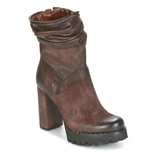 Chaussures Femme Bottines Airstep / A.S.98 BLOC ZIP Marron