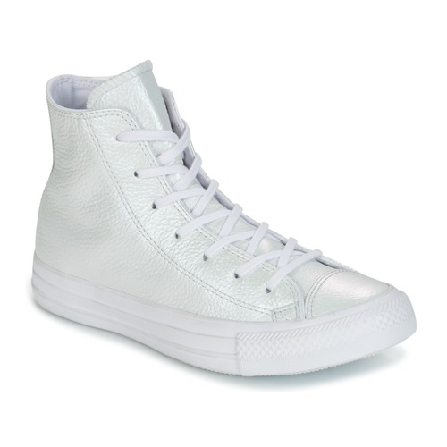 5147c40e2a986 Chaussures Femme Baskets montantes Converse CHUCK TAYLOR ALL STAR  IRIDESCENT LEATHER HI valkoinen