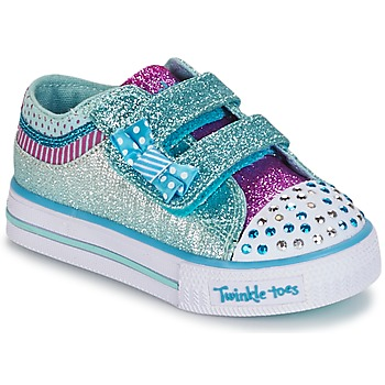 Chaussures Fille Baskets basses Skechers Shuffles Blanc / Blue