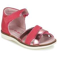 Chaussures Fille Sandales et Nu-pieds Kickers GIGI FUCHSIA ROSE METAL