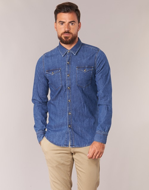 Vêtements Homme Chemises manches longues Casual Attitude IHERZI Bleu medium