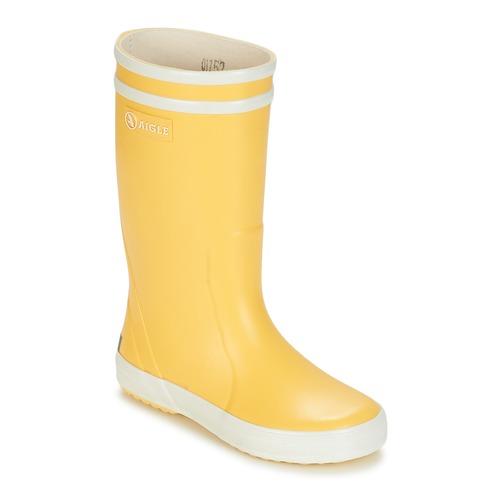 Chaussures Enfant Bottes de pluie Aigle LOLLY POP Jaune / Blanc