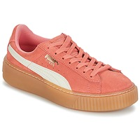 Chaussures Fille Baskets basses Puma SUEDE PLATFORM SNK JR Rose / Blanc