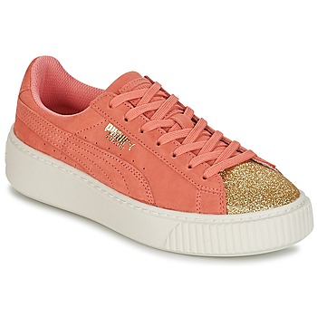 Chaussures Fille Baskets basses Puma SUEDE PLATFORM GLAM JR Doré / Rose