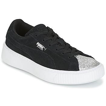 Chaussures Fille Baskets basses Puma SUEDE PLATFORM GLAM PS Noir / Argenté