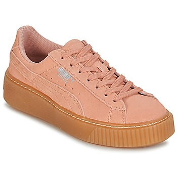 Chaussures Fille Baskets basses Puma SUEDE PLATFORM JEWEL JR Rose / Beige