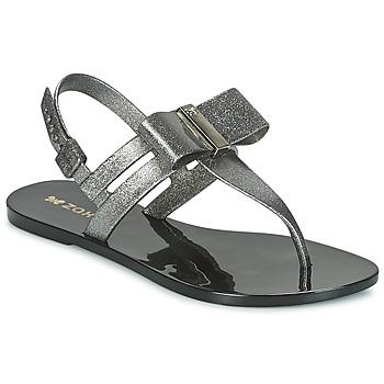 Chaussures Femme Sandales et Nu-pieds Zaxy GLAZE SAND AD Argenté / Noir