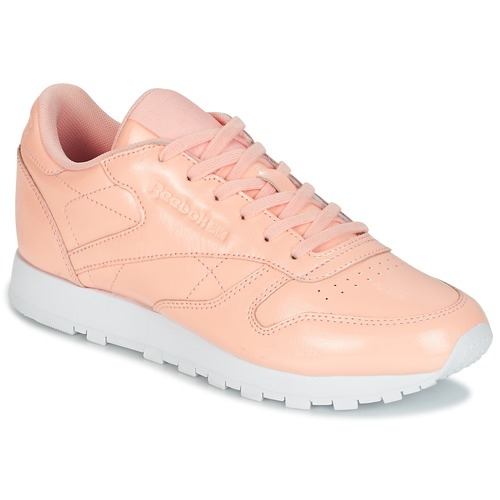 Reebok Classic Classic Leather PATENT Rose / Blanc - Chaussures Baskets basses Femme