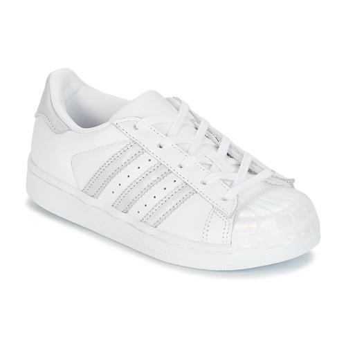 Chaussures Fille Baskets basses adidas Originals STAN SMITH C Blanc /  Argenté