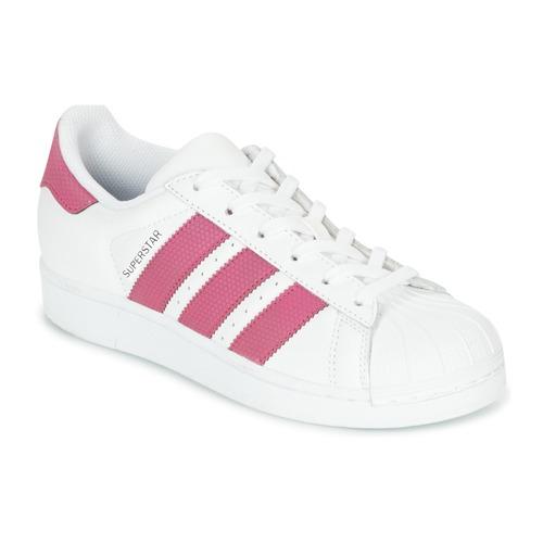 size 40 2dd23 a8a97 Chaussures Fille Baskets basses adidas Originals SUPERSTAR J Blanc   rose