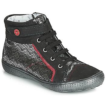 Chaussures Fille Baskets montantes Catimini ROSIERE Noir / Argenté