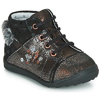 Chaussures Fille Boots Catimini ROULETTE VTC NOIR-CUIVRE DPF/GLUCK