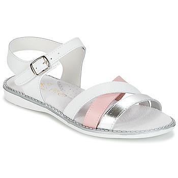 Chaussures Fille Sandales et Nu-pieds Citrouille et Compagnie IZOEGL blanc / Rose / Argent
