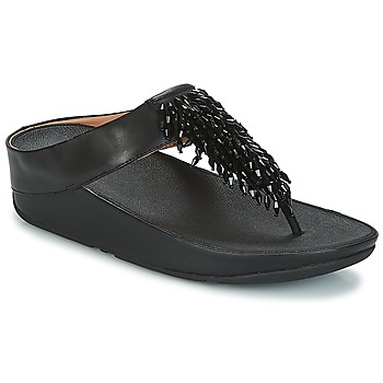 Chaussures Femme Tongs FitFlop CHA-CHA TOE-THONG SANDALS CRYSTAL Noir