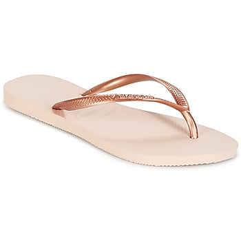 Chaussures Fille Tongs Havaianas SLIM Rose Doré