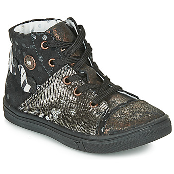 Chaussures Fille Baskets montantes Catimini ROUSSEROLLE Noir / Doré