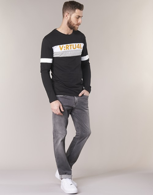 Jack & Jones JCOACE-TEE-LS-CREW-NECK noir