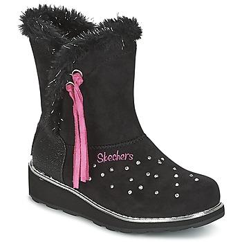 Chaussures Fille Bottes de neige Skechers SPARKLES Noir / Rose