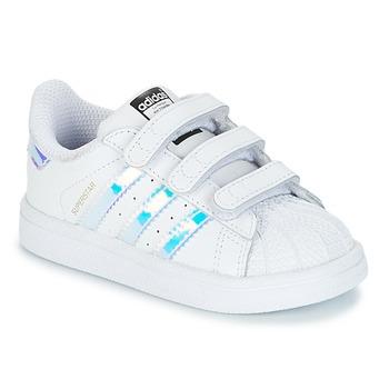 Chaussures Fille Baskets basses adidas Originals SUPERSTAR CF I Blanc / Argenté