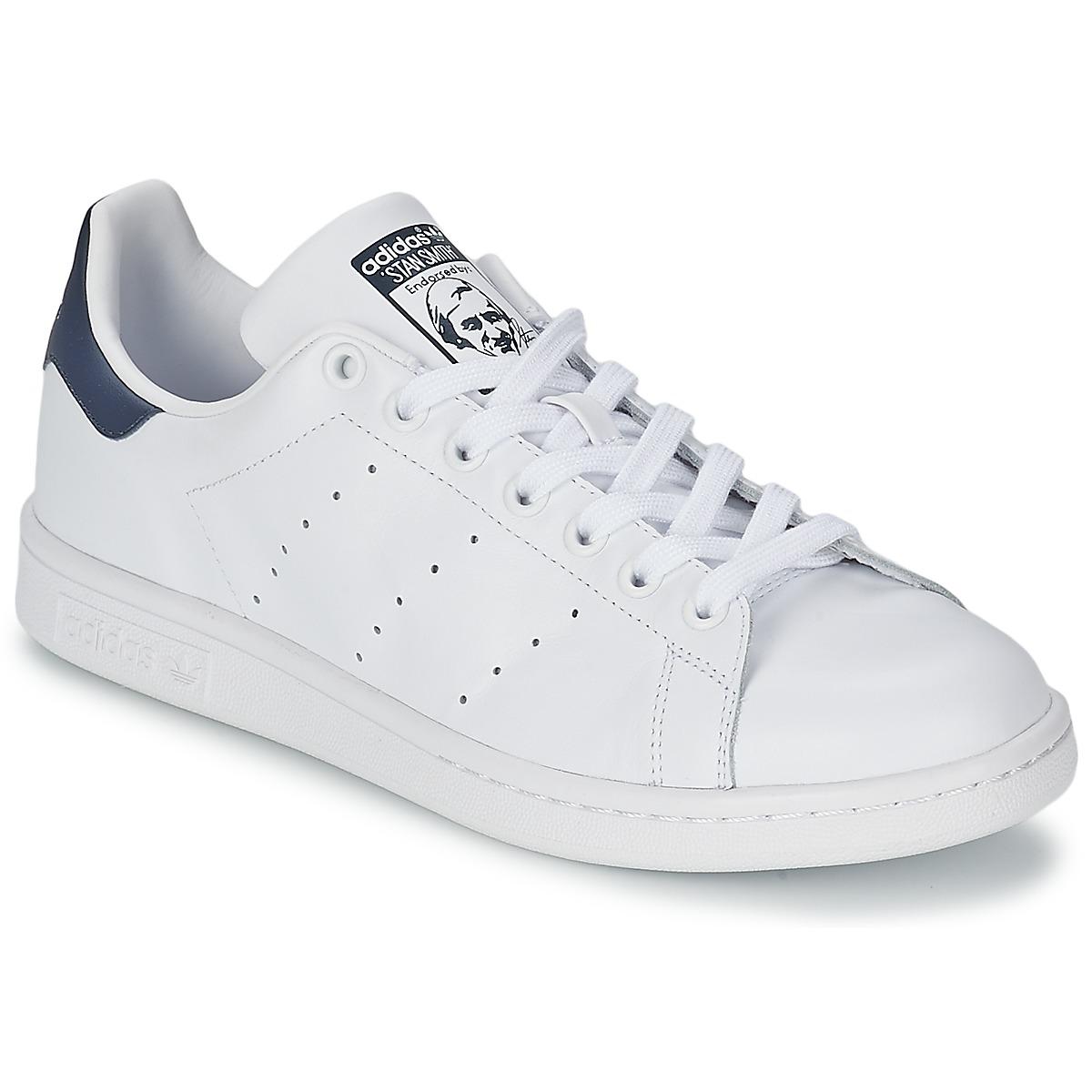 adidas Originals STAN SMITH Blanc / Bleu - Chaussure pas cher avec Shoes.fr ! - Chaussures Baskets basses 93,95 €