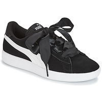 Chaussures Fille Baskets basses Puma JR PUMA SMASH RIBB.BLK BLACK