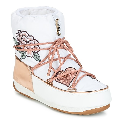 a0ee59170bf9e Chaussures Femme Bottes de neige Moon Boot PEACE   LOVE WP Blanc   Rose gold
