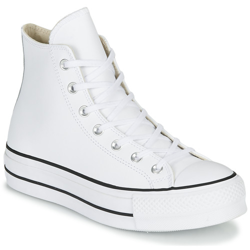 Chaussures Femme Baskets montantes Converse CHUCK TAYLOR ALL STAR LIFT CLEAN LEATHER HI Blanc