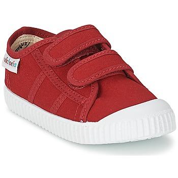 Chaussures Enfant Baskets basses Victoria BLUCHER LONA DOS VELCROS Carmin