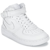 Chaussures Air max tnGarçon Baskets montantes Nike AIR FORCE 1 MID Blanc