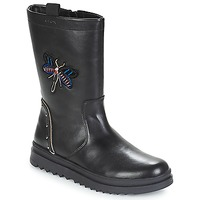 Chaussures Fille Bottes ville Geox J GILLYJAW GIRL Noir