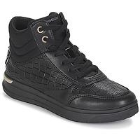 Chaussures Fille Baskets montantes Geox J AVEUP GIRL Noir / Doré
