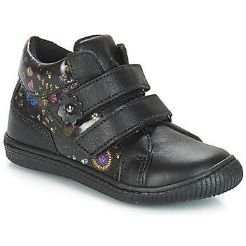 Chaussures Fille Baskets basses Citrouille et Compagnie JUPETTE Noir / Fleurs