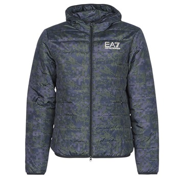 Vêtements Homme Doudounes Emporio Armani EA7 TRAIN GRAPHIC SERIES M JACKET HOODIE ALL OVER CAMOU Kaki / Bleu