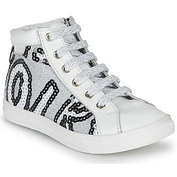 Chaussures Fille Baskets montantes GBB MARTA Blanc / Argenté